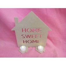 4mm Thick MDF House home sweet home tea light holder